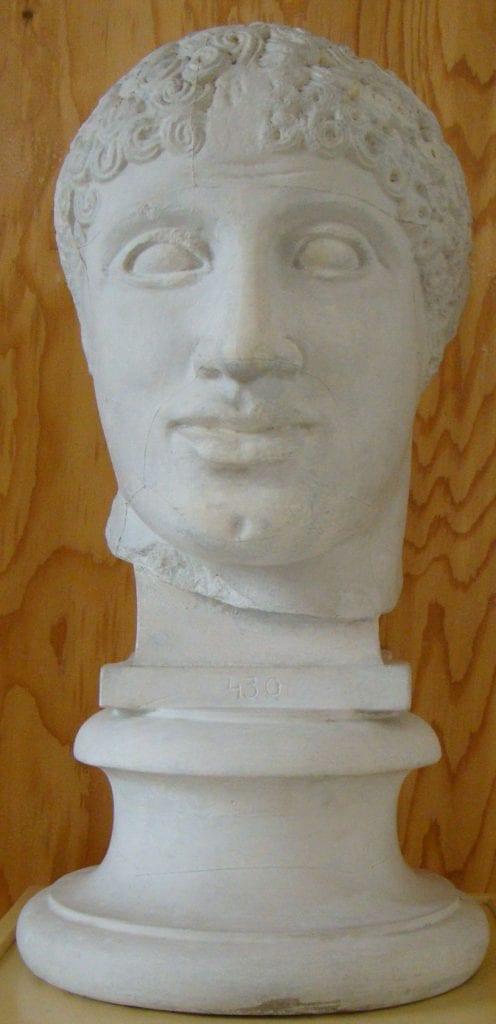 Hlava Lapitha ze západního štítu Diova chrámu v Olympii